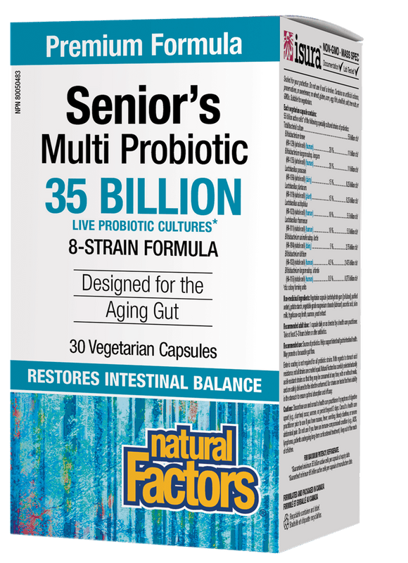 Natural Factors Senior's Multi Probiotic, 8 Strain Formula, 30 Vegetarian Capsules