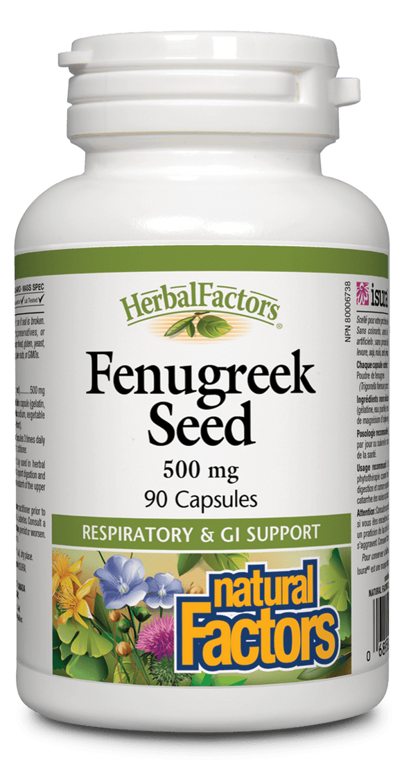 Natural Factors Fenugreek Seed 500 mg, 90 capsules