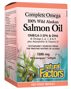 Natural Factors 100% Wild Alaskan Salmon Oil, 90 Softgels