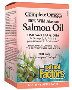 Natural Factors 100% Wild Alaskan Salmon Oil, 180 Softgels