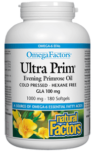 Natural Factors Ultra Prim Evening Primrose Oil, 1000mg, 180 softgels