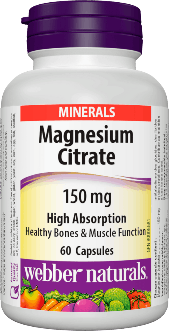 Webber Naturals Magnesium Citrate High Absorption 150 mg, 60caps