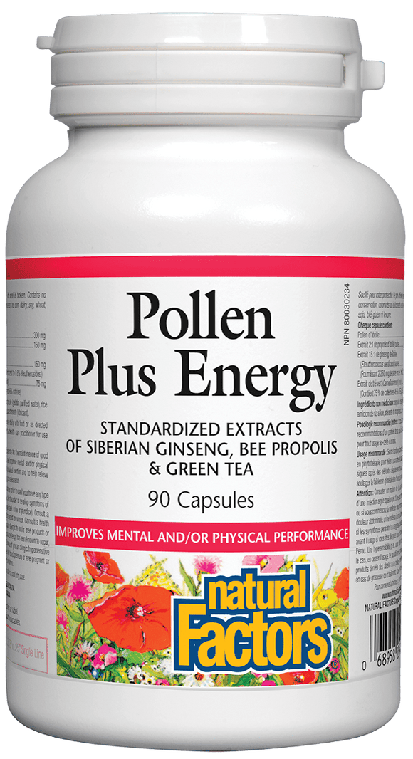Natural Factors Bee Pollen Plus Energy, 90 caps