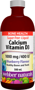 Webber Naturals Liquid Calcium plus Vitamin D, 1000mg/400IU, Blueberry Flavour, 500mL