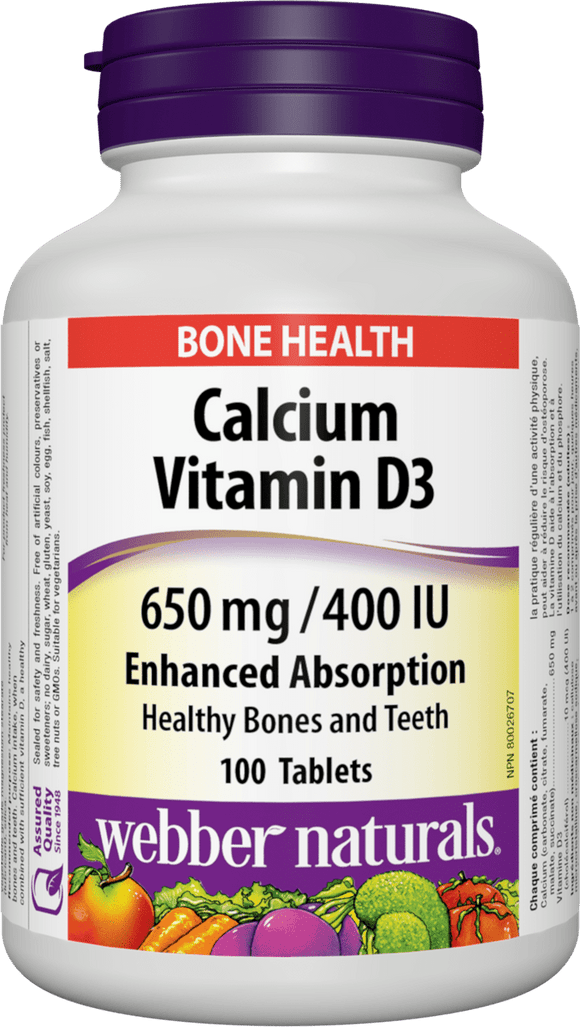Webber Naturals Calcium Vitamin D3, Easy Absorption, Krebs Cycle, 650mg, 400IU, 100 TABS