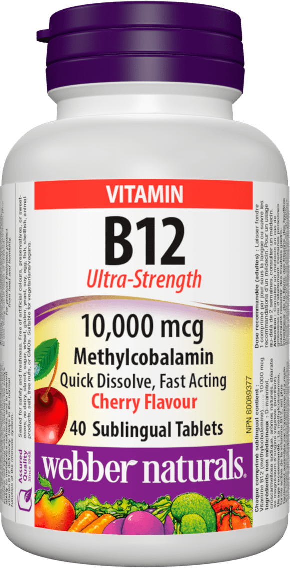 Webber Naturals B12 Ultra Strength 10,000 mcg 40 cherry tablets