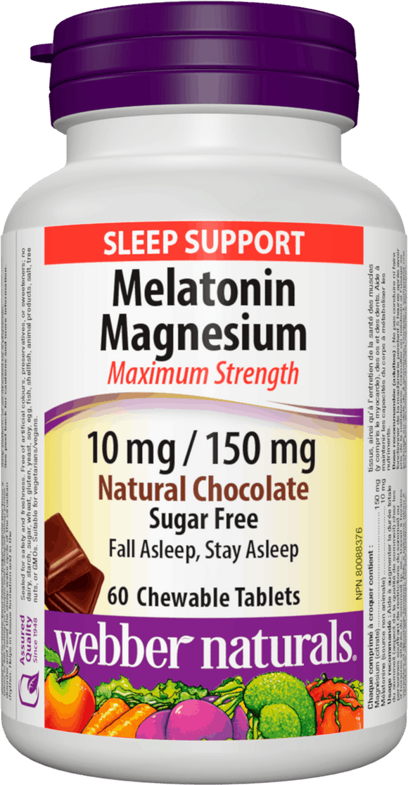 Webber Naturals Melatonin Magnesium 10 mg/ 150 mg 60 chewable tablets Chocolate