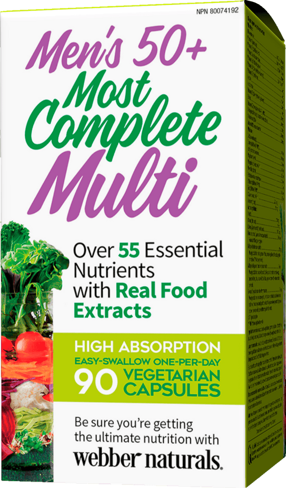 Webber Naturals  Men's 50+ Most Complete Multi, 90 Vegetarian Capsules