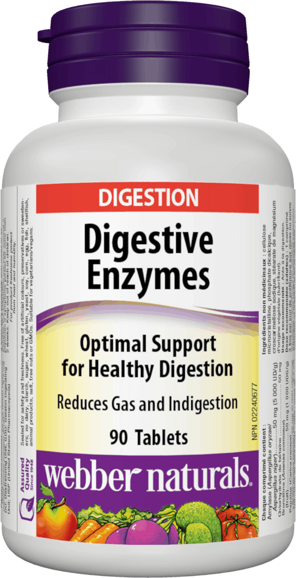 Webber Naturals Digestive Enzymes for Proteins and Carbohydrates, 90 tablets