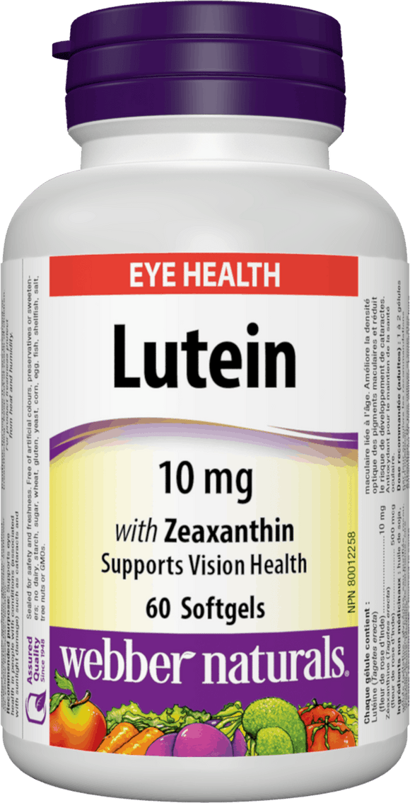 Webber Naturals Lutein (10 mg) with Zeaxanthin, 60 softgels