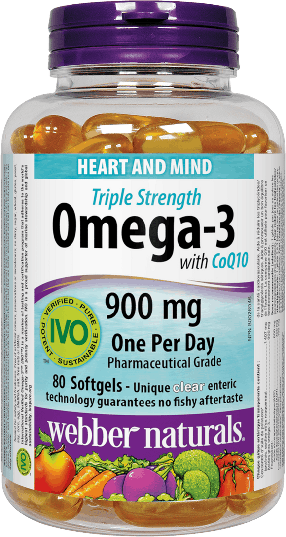 Webber Naturals Triple Strength Omega-3 with CoQ10 enteric coated 900 mg  (EPA • DHA)/ 100 mg CoQ10, 80sgs