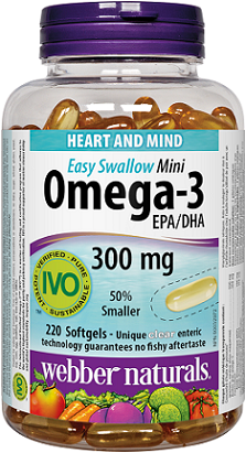 Webber Naturals Omega-3 Mini 300 mg EPA/DHA · 220 clear enteric softgels