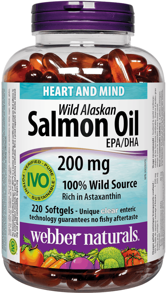 Webber Naturals Wild Alaskan Salmon Oil, 200 mg EPA/DHA, 220 Clear Enteric Softgels