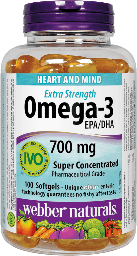 Webber Naturals Omega-3 Extra Strength, 700 mg EPA/DHA, 100 Clear Enteric Softgels