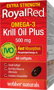 Webber Naturals RoyalRed® Krill Oil Plus, Extra Strength, 500 mg, 60 Softgels
