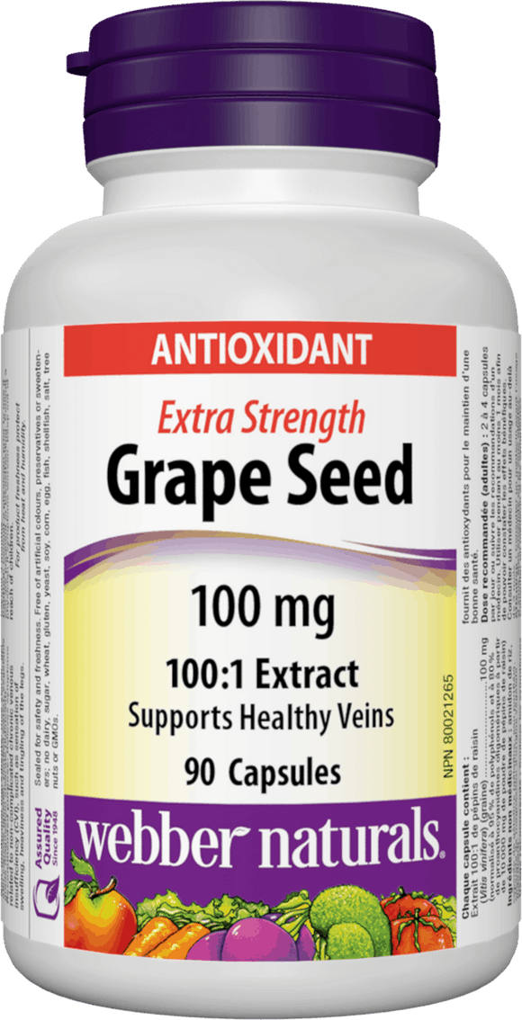 Webber Naturals Grape Seed Extract, 100mg, 90 caps