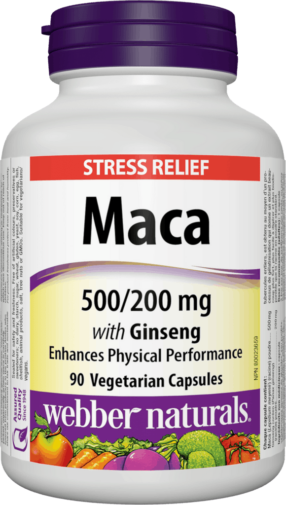 Webber Naturals Maca 500mg with Ginseng 200mg, 90 Vegetarian Capsules