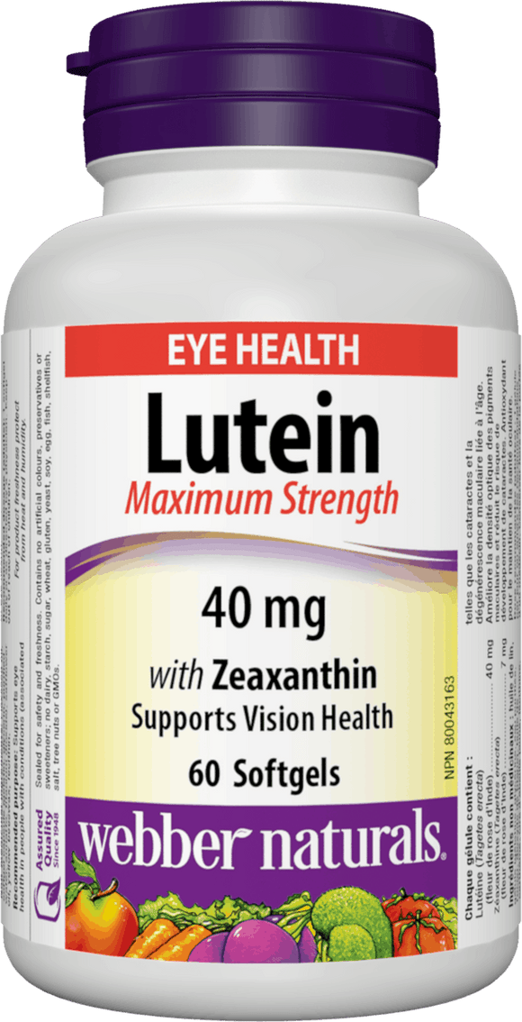 Webber Naturals Lutein with Zeaxanthin Maximum Strength, 40mg, 60 softgels