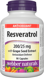 Webber Naturals Resveratrol with Grape Seed Extract, 200mg/25mg, 90 capsules