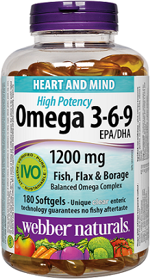 Webber Naturals Omega 3-6-9 High Potency 1200 mg · Fish, Flax & Borage