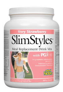Natural Factors SlimStyles™ Meal Replacement Drink Mix, Strawberry, 800 g