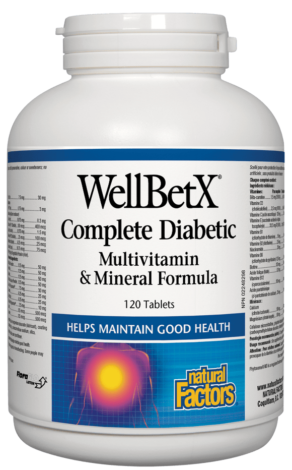 Natural Factors WellBetX™  Complete Diabetic Multi Vitamin & Mineral Formula, 120 tabs