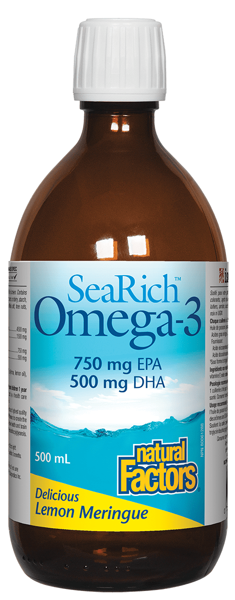 Natural Factors SeaRich Omega-3 750 mg EPA/ 500 mg DHA Lemon Meringue 500 ml