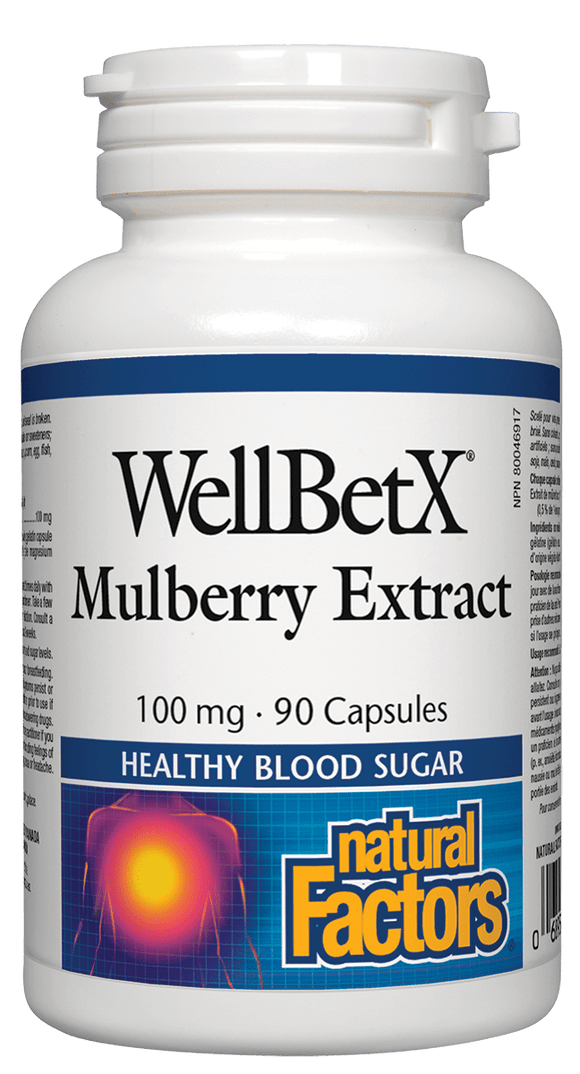 【Clearance】Natural Factors WellBetX Mulberry Extract 100 mg, 90 caps  EXP:2021/7