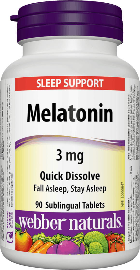 Webber Naturals Melatonin Easy Dissolve, 3 mg, 90 sublingual tabs