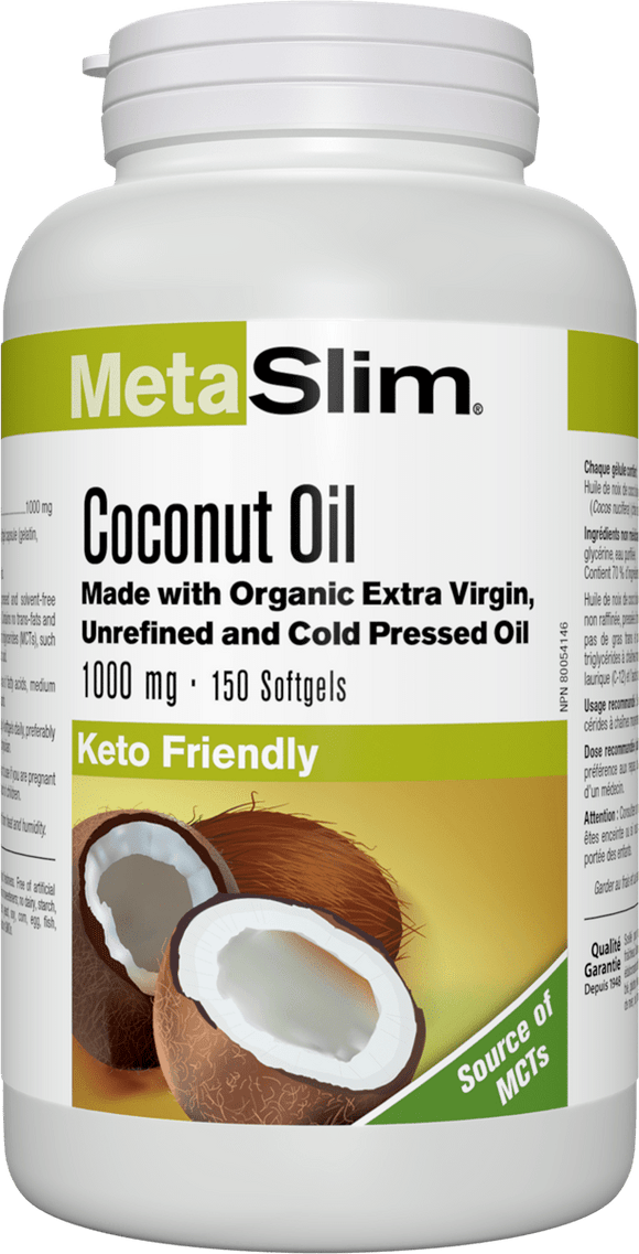 Webber Naturals MetaSlim® Coconut Oil, 1000 mg, 150 Softgels