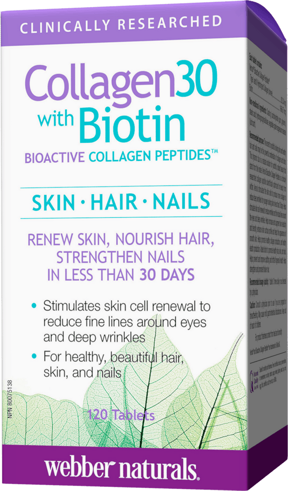Webber Naturals Collagen 30 with Biotin Bioactive Collagen Peptides 120 tablets