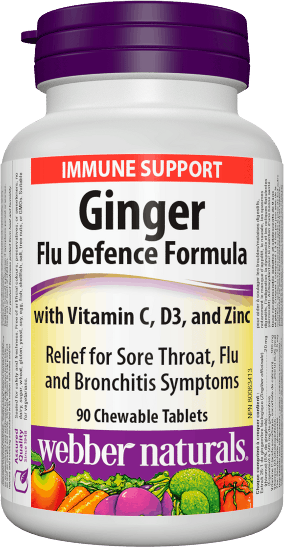 Webber Naturals Ginger Flu Defence Formula 90 Chewable Tablets