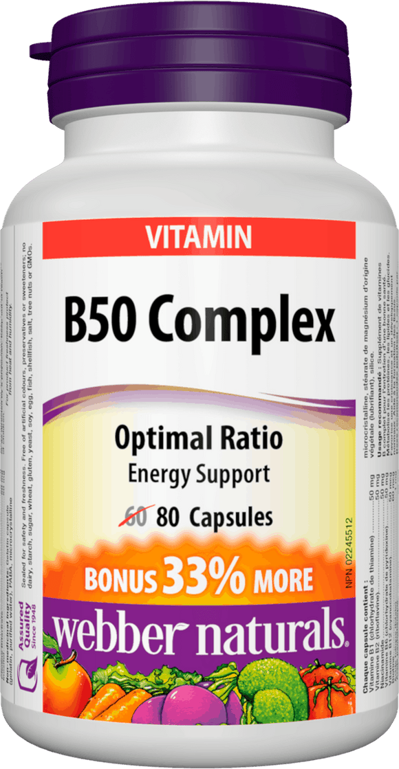 Webber Naturals B50 Complex 50mg of B Vitamins, 80caps