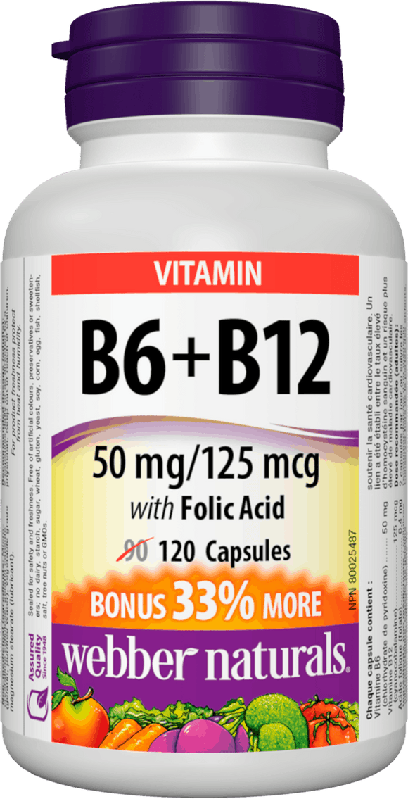 Webber Naturals Vitamin B6, B12 and Folic Acid, 120caps