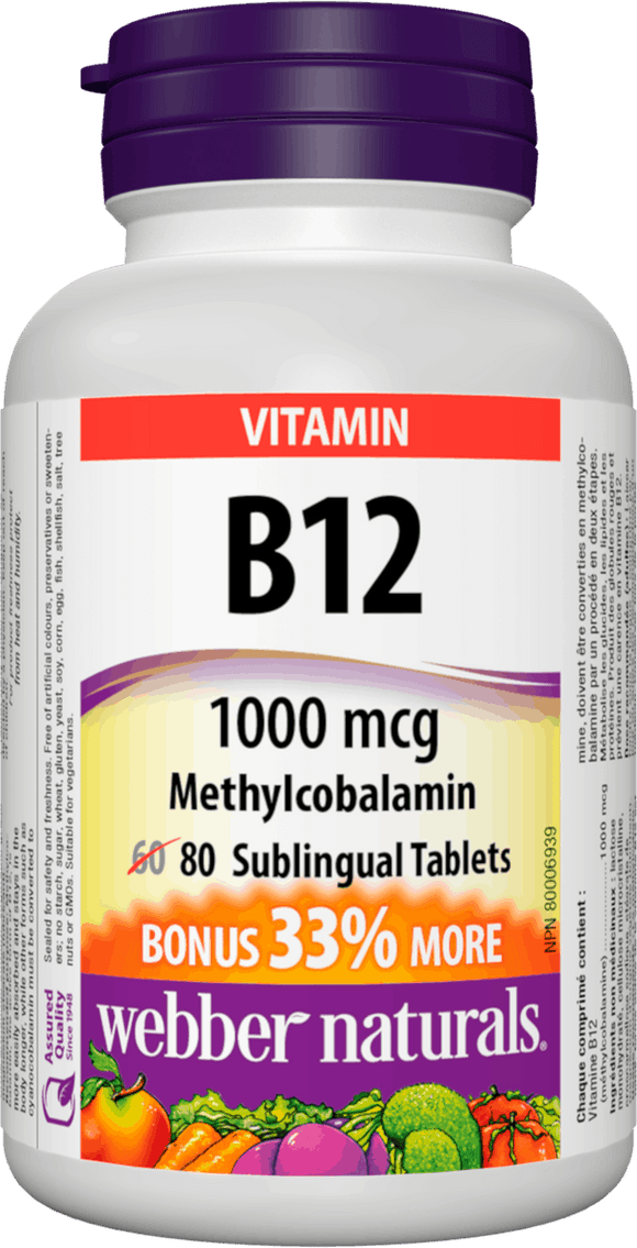Webber Naturals B12, 1000 mcg Sublingual (Methylcobalamin), 80 Tablets Bonus Pack