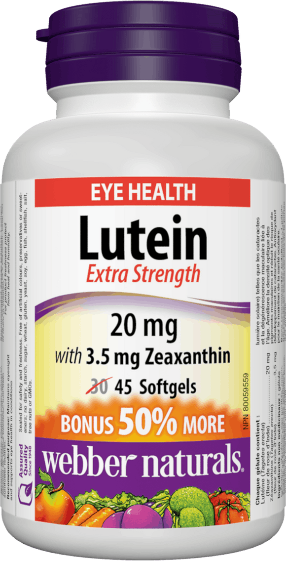 Webber Naturals Lutein with Zeaxanthin, 20mg, 45 softgels Bonus Size