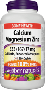 Webber Naturals Calcium Magnesium Zinc, Enhanced Absorption, 333/167/17 mg, BONUS 200 caplets