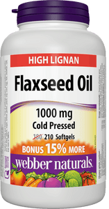 Webber Naturals Flaxseed Oil Cold Pressed, 1000 mg, 210 Softgels Bonus