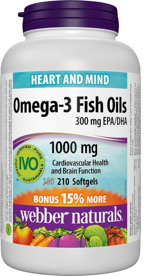 Webber Naturals Omega-3 fish oils, 210 softgels Bonus Size