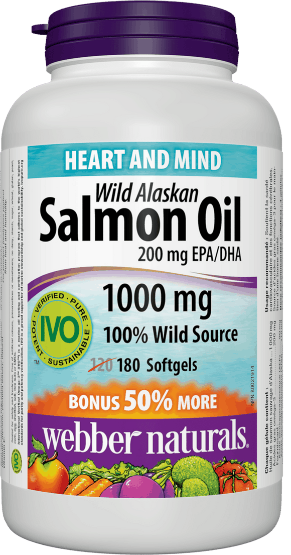 Webber Naturals Wild Alaskan Salmon Oil 1000mg, 120+60 softgels Bonus