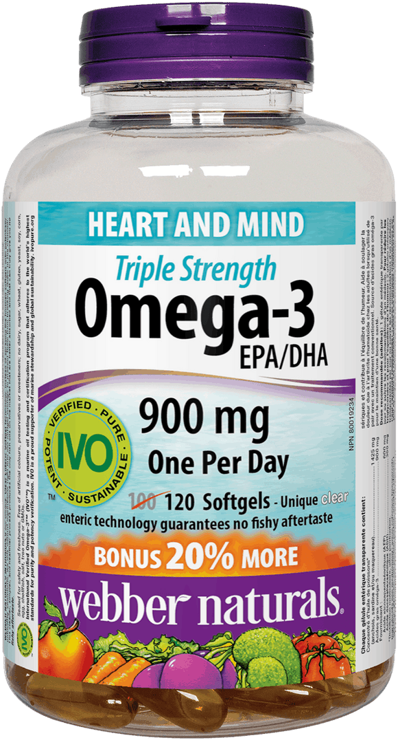 Webber Naturals Triple Strength Omega-3, 900mg, 120 softgels