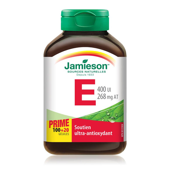 Jamieson Vitamin E 400 IU, 100+20 Softgels