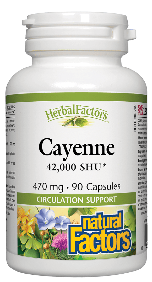 Natural Factors Cayenne, 470mg, 42,000 SHU, 90 capsules