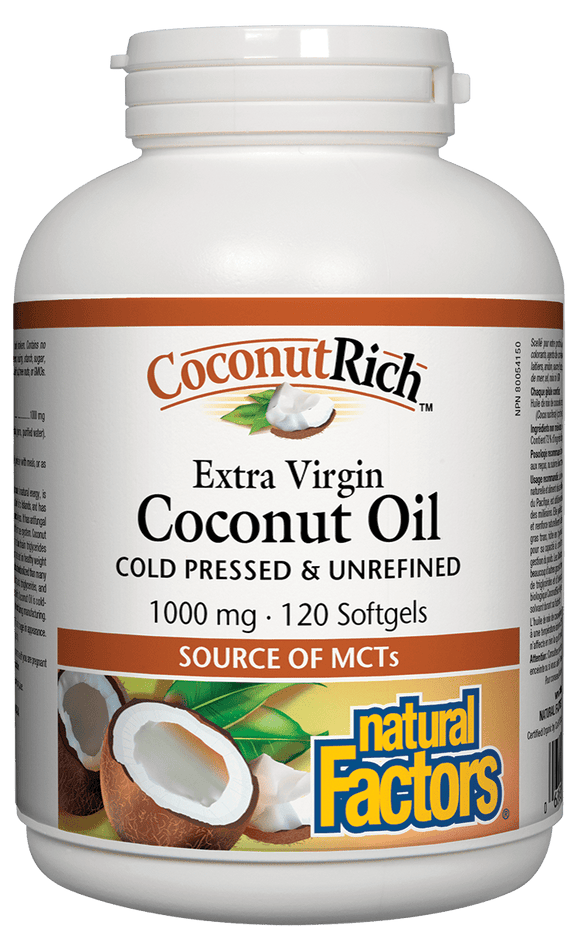 Natural Factors CoconutRich Extra Virgin Coconut Oil, 120 Softgels