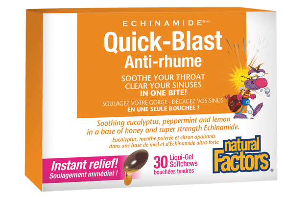 Natural Factors ECHINAMIDE® Quick-Blast 30 liqui-Gel softchews / 6-pack box