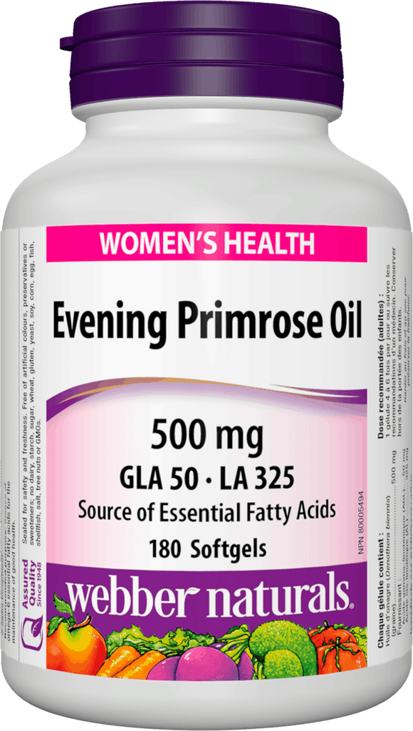 Webber Naturals Evening Primrose Oil, 500mg, 180 softgels