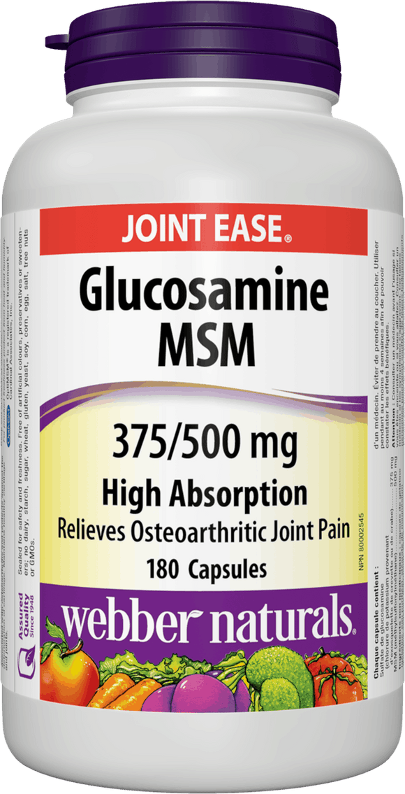 Webber Naturals Glucosamine MSM High Absorption Easy Swallow 375/500 mg, 180caps