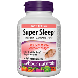 Webber Naturals Super Sleep Melatonin Plus L-Theanine & 5-HTP, 90 soft-melt tablets