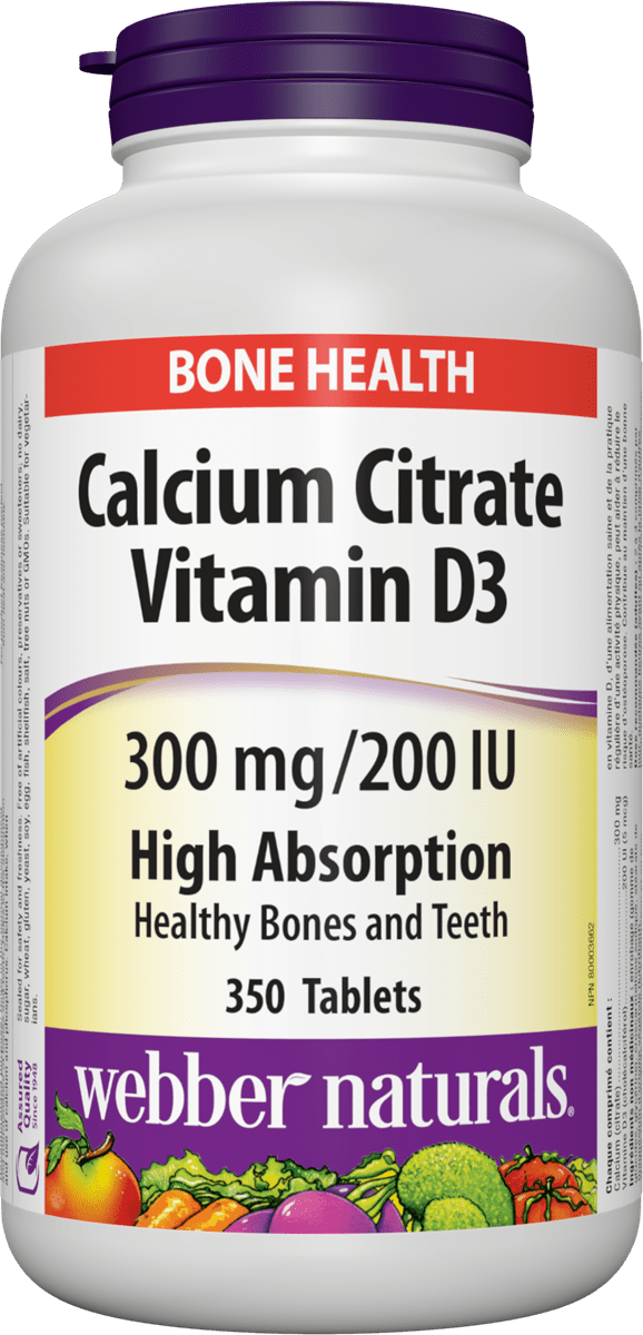 Webber Naturals - Calcium Citrate with Vitamin D3 300 mg / 200 IU - 350 Tablets