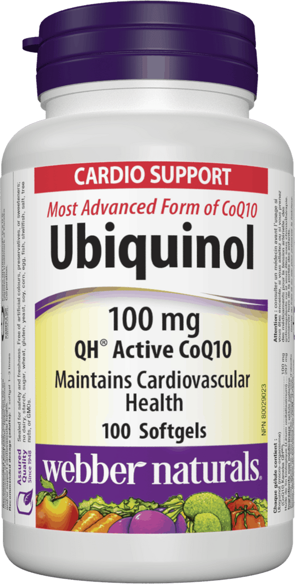 Webber Naturals Ubiquinol QH Active CoQ10, 100 mg, 100 softgels